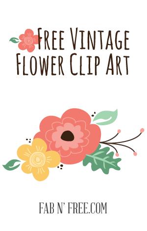 Free flower clip art. Announcements clipart vintage