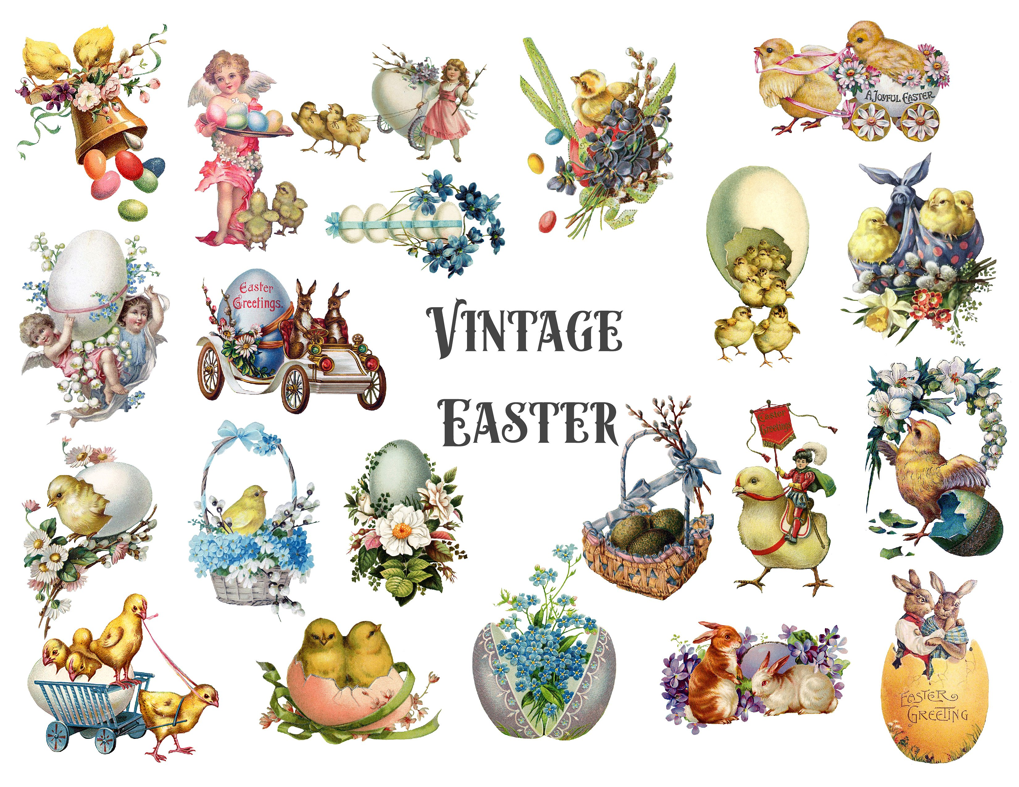 Announcements clipart vintage. Easter illustrations creative market