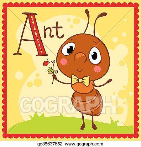 Vector stock illustrated letter. Ant clipart alphabet