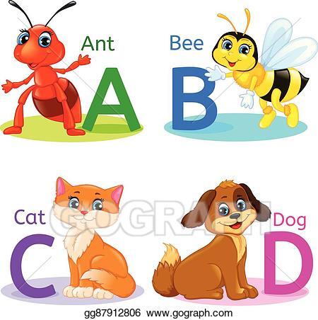Ant clipart alphabet. Vector illustration kids animals