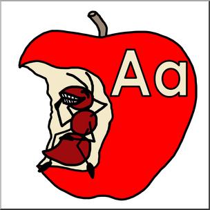 Ant clipart alphabet. Ate an apple a