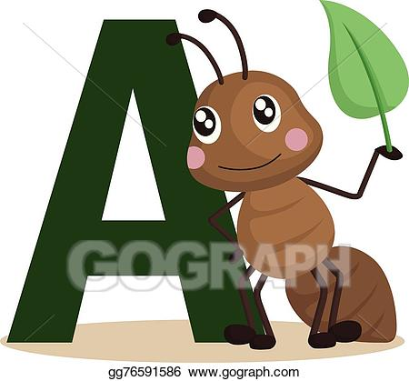Ant clipart alphabet. Vector illustration a for