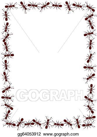 Ant clipart border. Stock illustration frame drawing