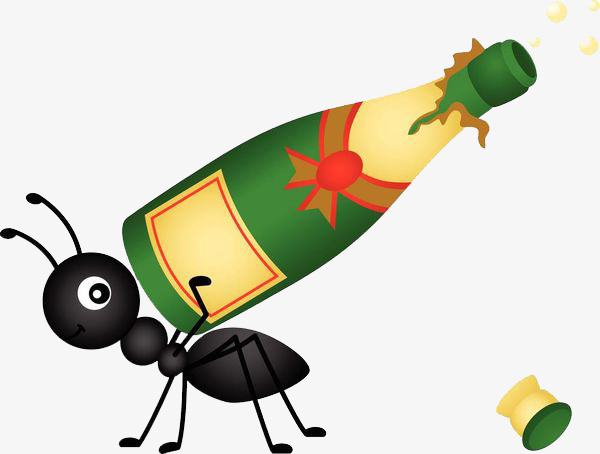 The bottle of ants. Ant clipart carry