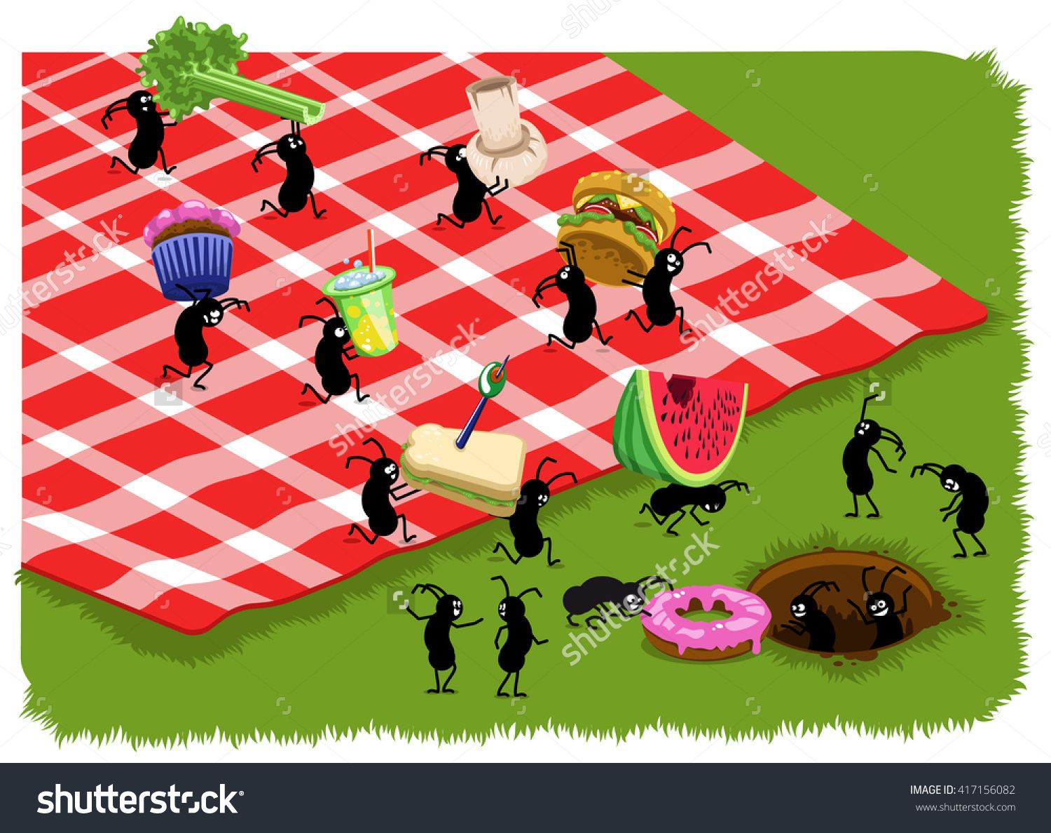 Ant clipart carry. Picnic ants food like