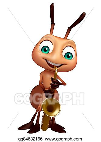 Stock illustration cute cartoon. Ant clipart character