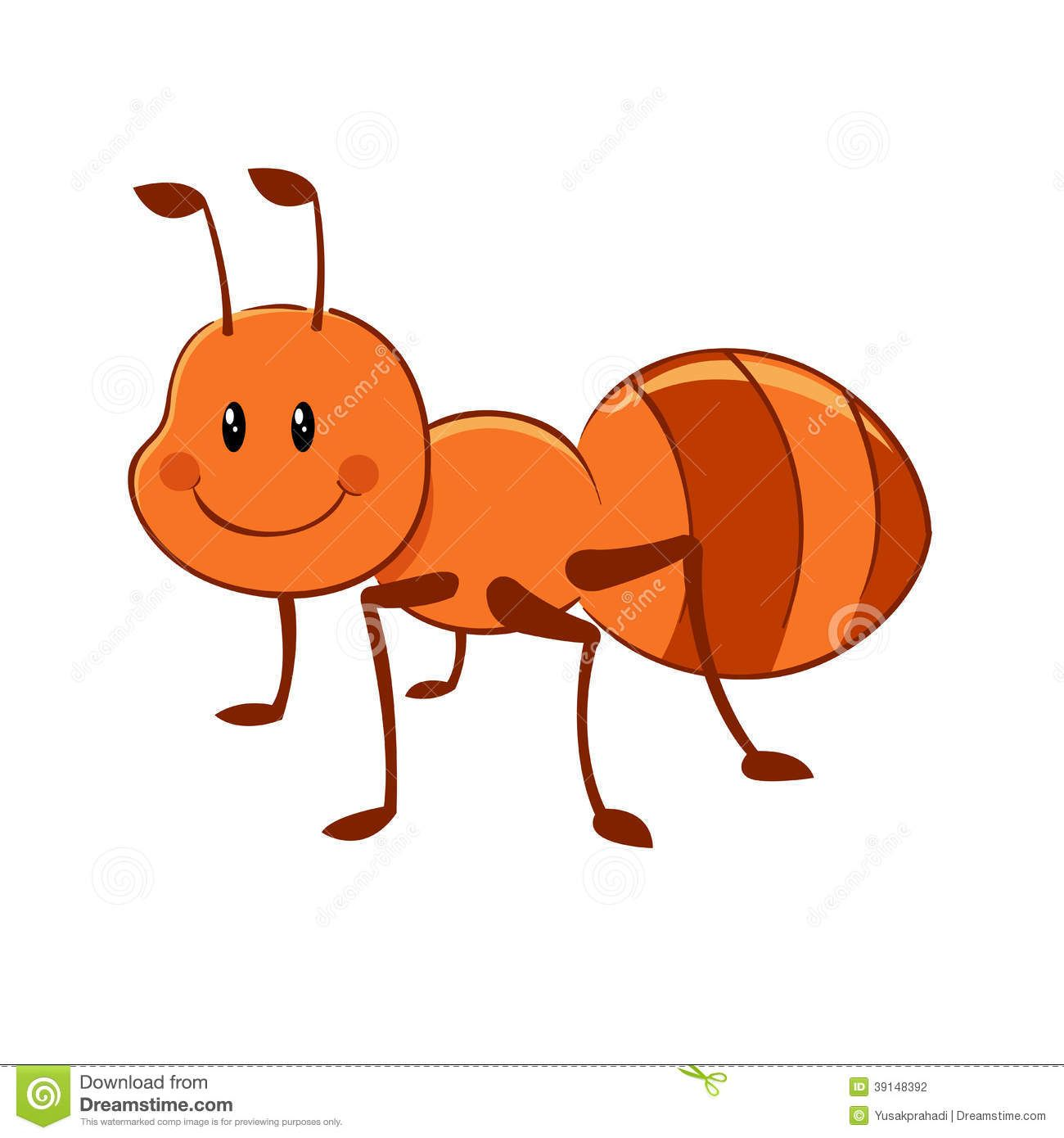 Cartoon ant mascot stock. Ants clipart children's