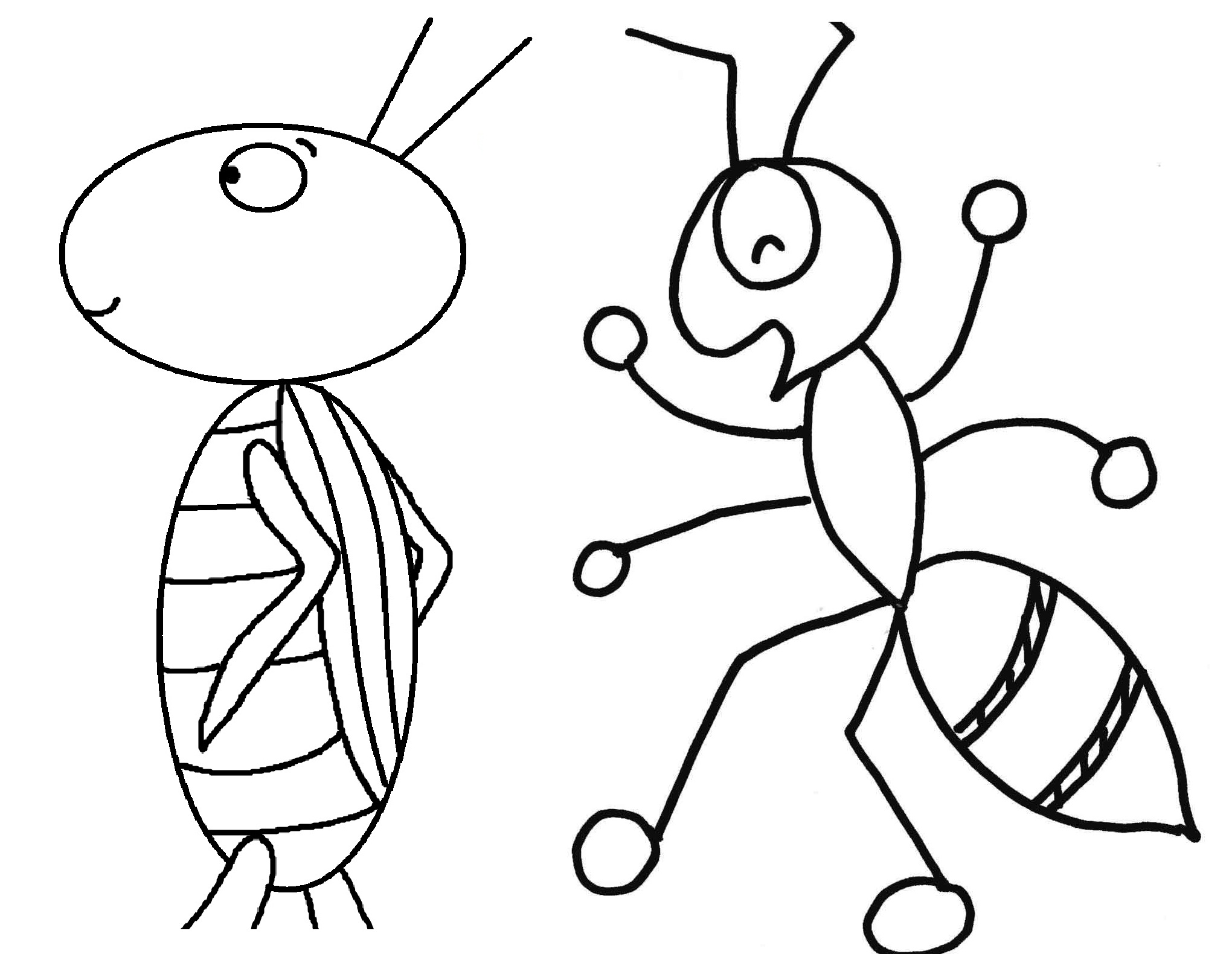 Ant clipart colouring page. Grasshopper drawing outline at