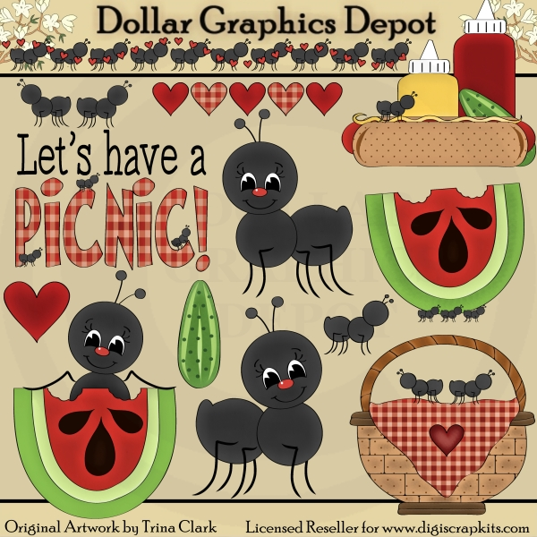 Ants clipart family. Picnic clip art dollar