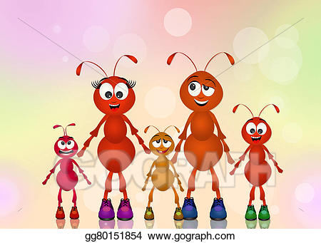 Stock illustration of ants. Ant clipart family