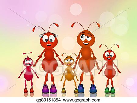 Ants clipart illustration. Stock family of illustrations