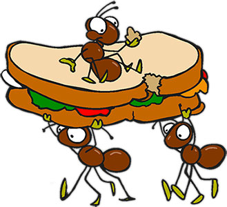 Hard working pencil and. Ant clipart food