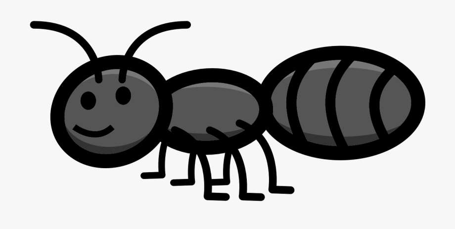 Insect fire for kids. Ant clipart gray
