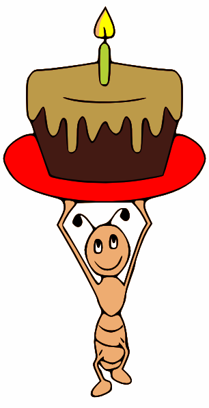 Carrying a cake clip. Ant clipart happy