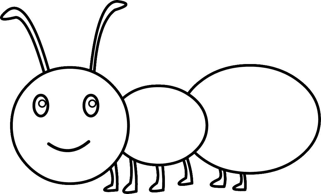 Black and white car. Ant clipart line drawing