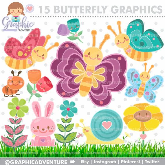 Ant clipart pink. Butterfly graphics commercial use