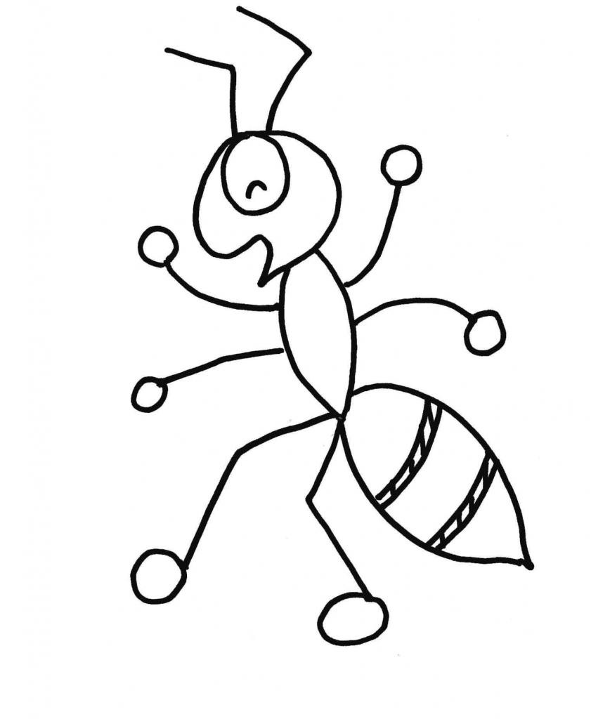 Ant clipart sketch. Cartoon drawings ants kid