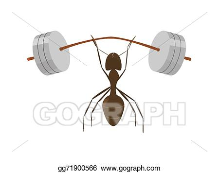 Ant clipart strong. Vector stock little illustration