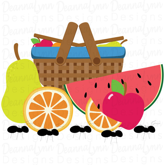 Fruit apple orange pear. Ant clipart summer picnic