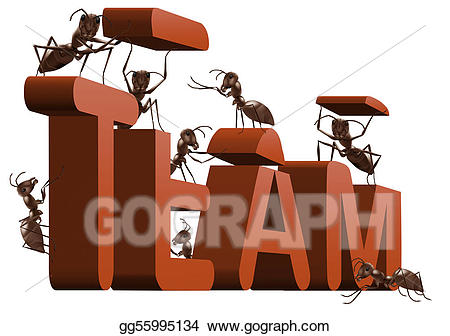 Ant clipart work. Stock illustration teamwork team