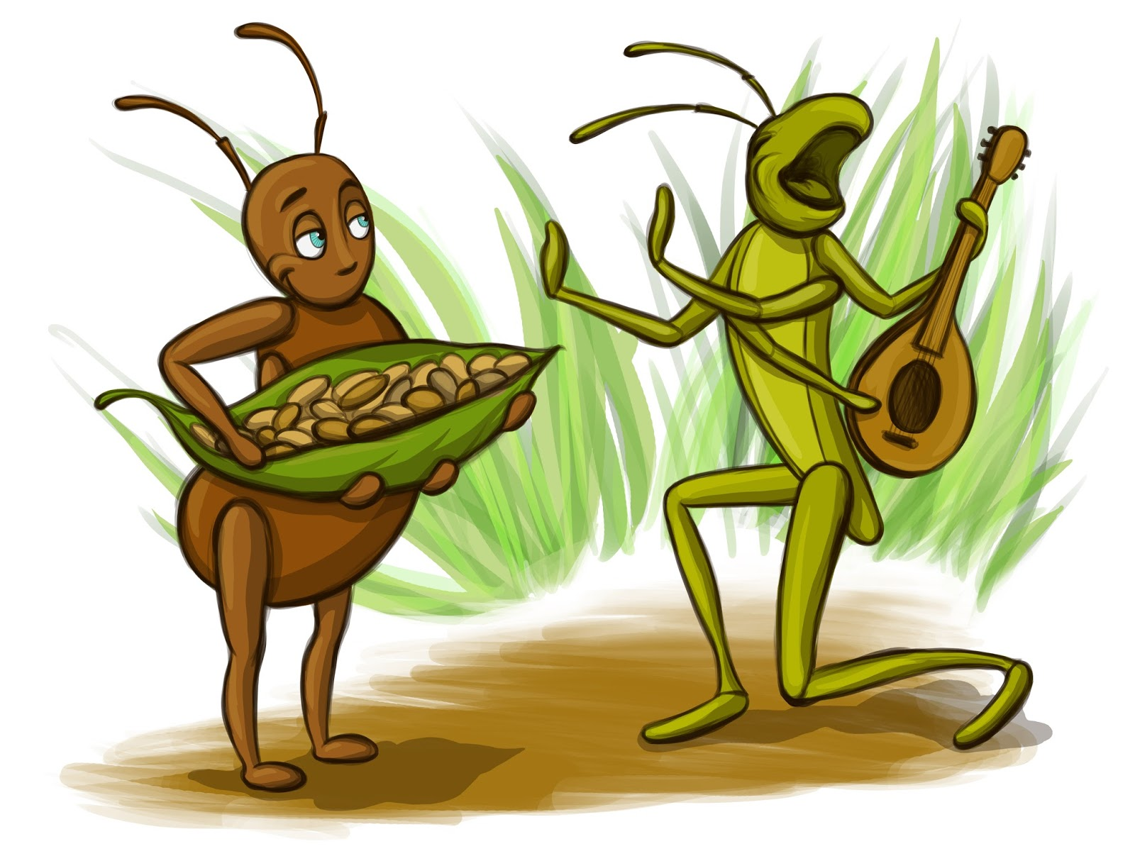 Ant clipart work. Grasshopper and story hard