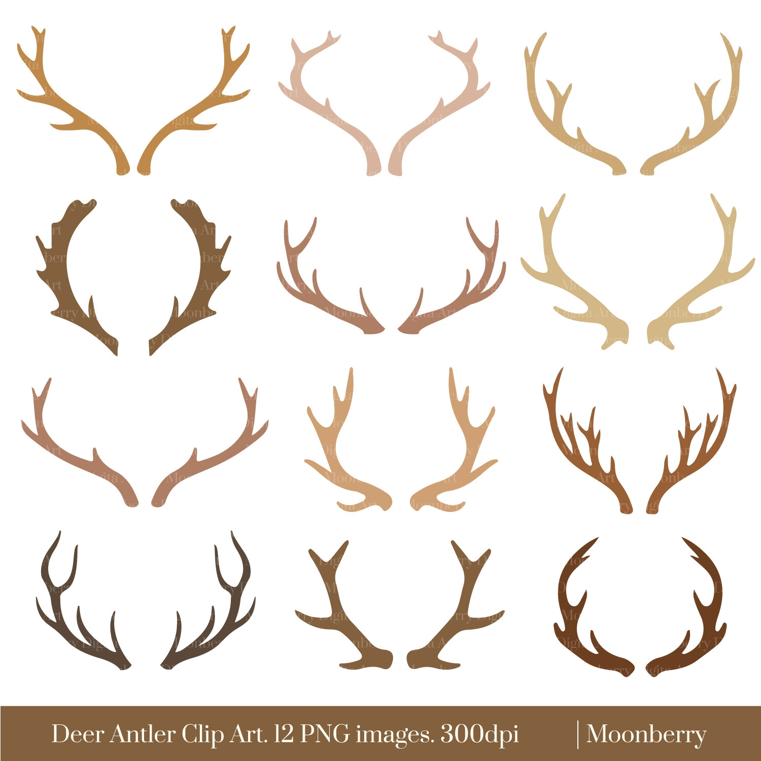 Awesome collection digital f. Antler clipart