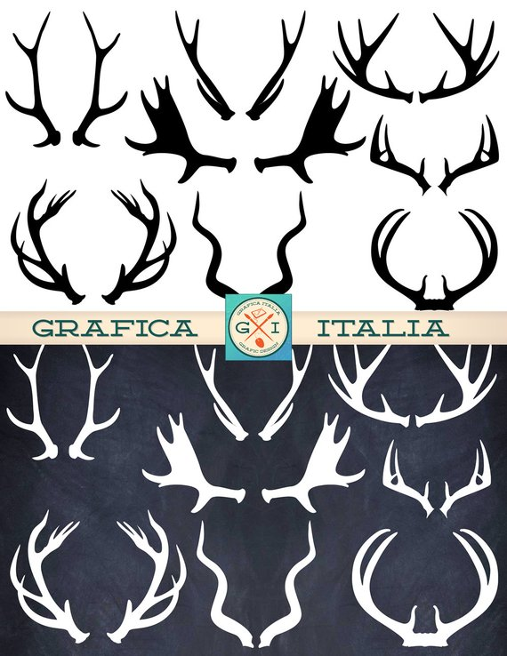 Antler clipart. Elements deer elk moose