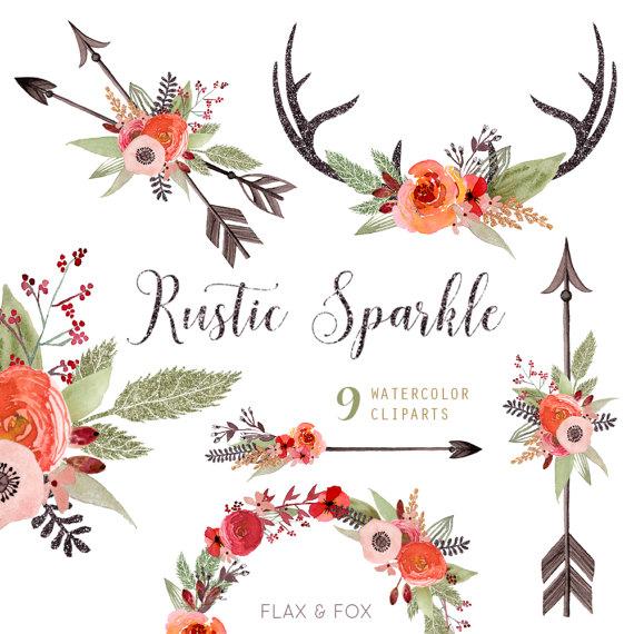 Rustic sparkle watercolor bouquets. Antlers clipart arrow
