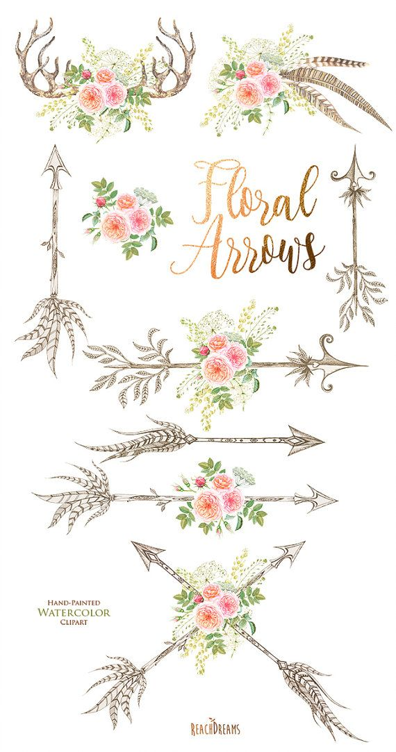 Watercolor flowers feathers horns. Antler clipart arrow