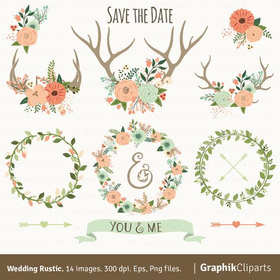 Rustic wedding vector flowers. Antlers clipart arrow