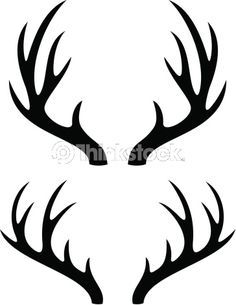 Black silhouette of deer. Antlers clipart cartoon