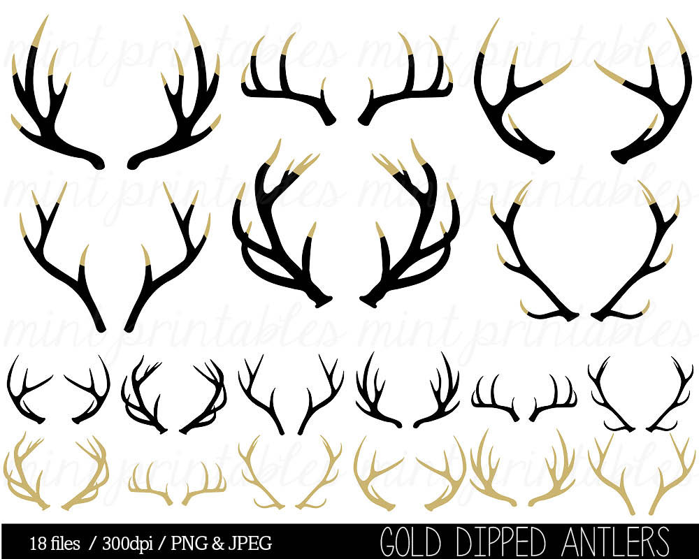 Silhouette clip art stag. Antler clipart black and white