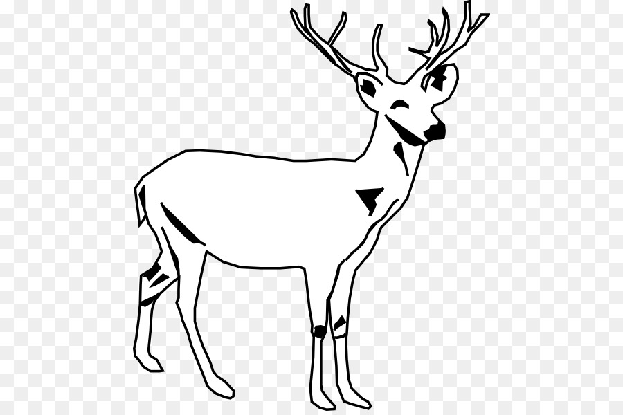 Tailed deer moose clip. Antler clipart black and white
