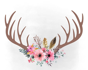 Antlers flowers png etsy. Boho clipart antler