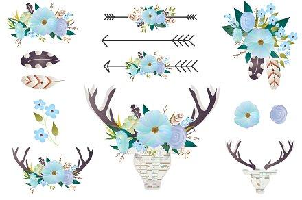 Boho clipart antler. Floral clip art deer