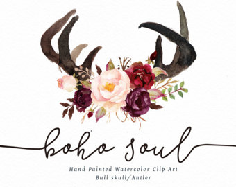 Antlers clipart boho. Horn etsy watercolor clipartboho