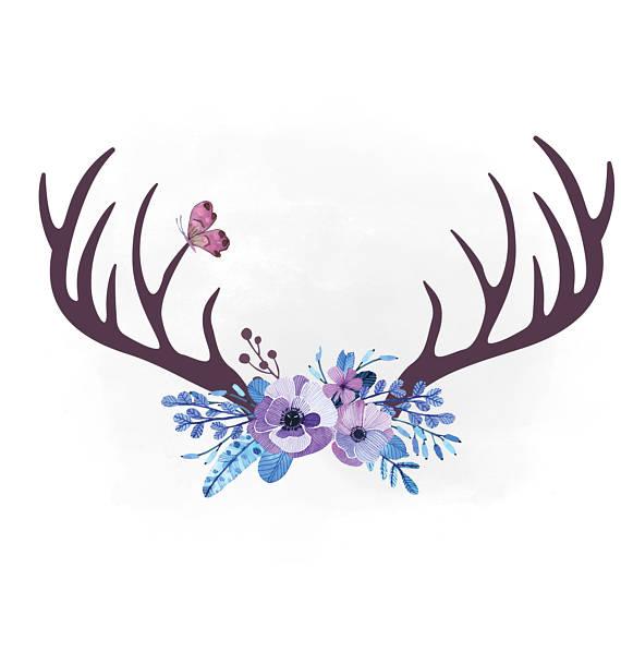 Floral svg antler hornes. Antlers clipart boho