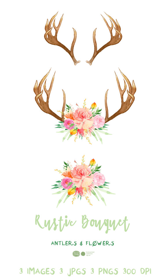 Antlers and flowers rustic. Antler clipart boho