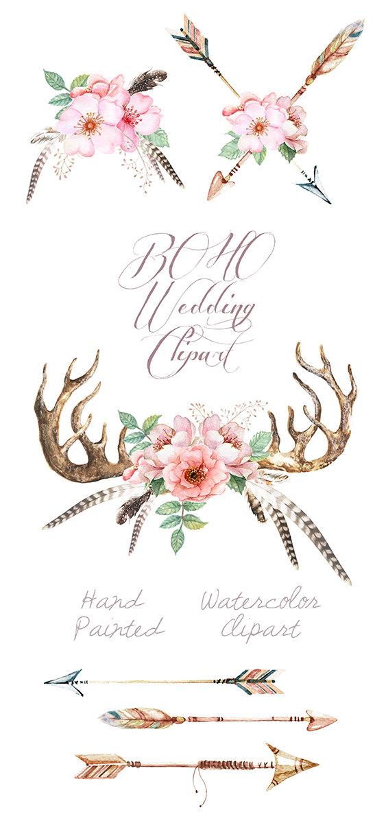 Watercolor wedding clip art. Arrows clipart flower
