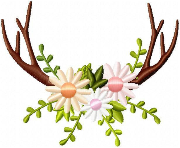 Antlers clipart border. And flowers arrangement frame