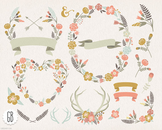 Antlers clipart frame. Floral wreaths heart pastel