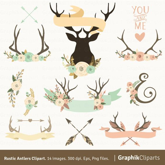 Antlers clipart cute. Rustic tribe and flower