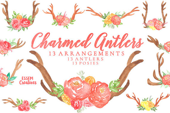 Antler clipart border. Bohemian watercolor antlers and