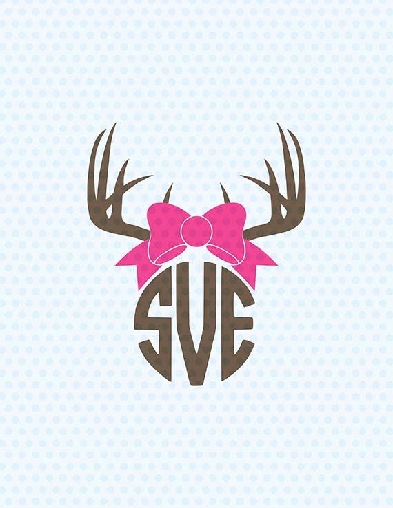 Antlers svg monogram deer. Antler clipart bow