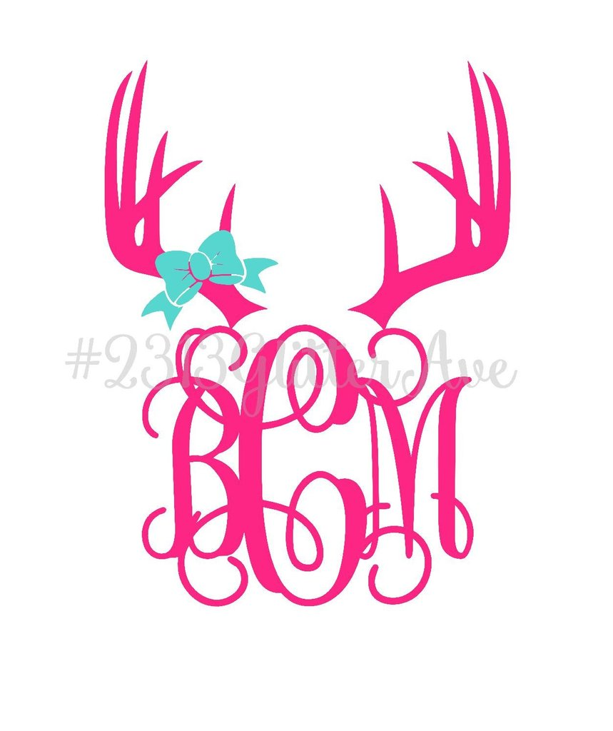 Deer monogram decal with. Antler clipart bow