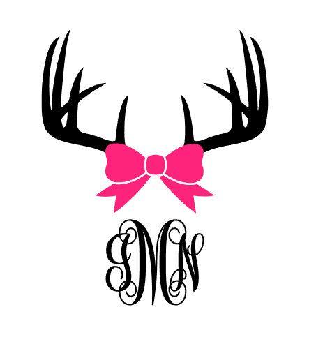 Antler clipart bow. Deer monogram decal horn