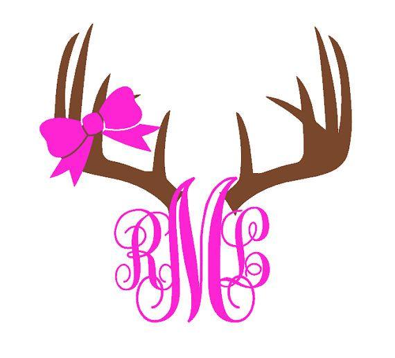 Antler clipart bow. Monogram deer car decal