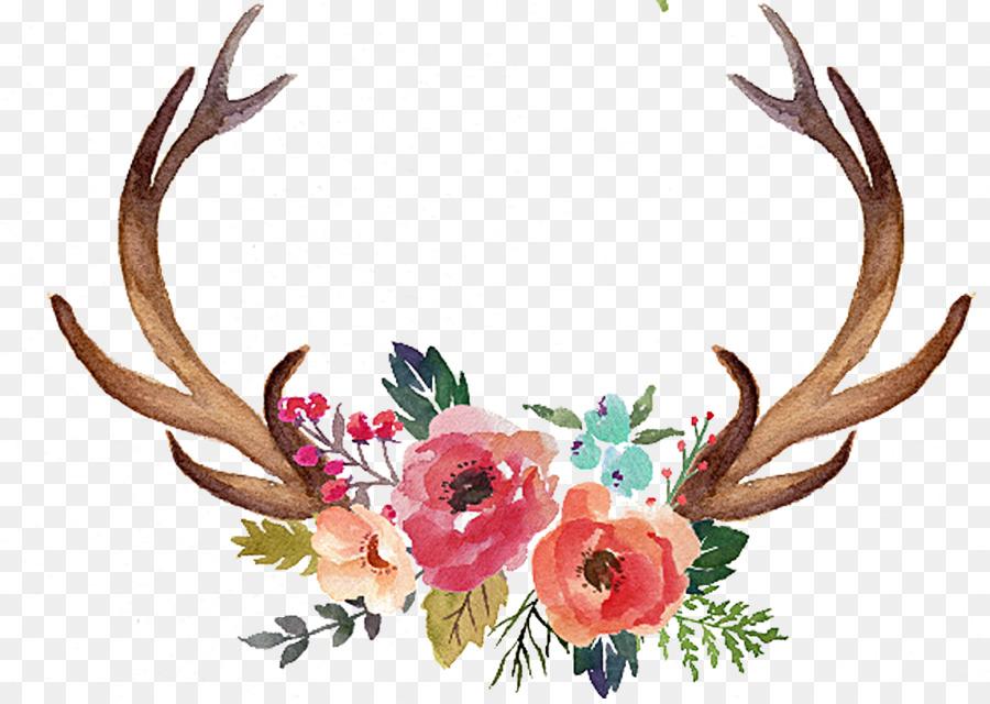 Deer flower moose clip. Antler clipart buck antler