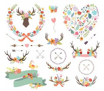Antler arrow shabby branch. Antlers clipart craft