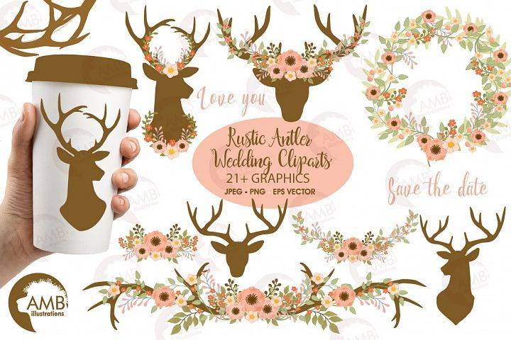 Antlers clipart craft. Rustic and florals cliparts